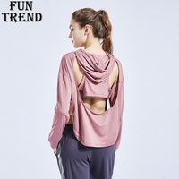 Running T shirt Women Fitness Pocket Hoodie Yoga Shirt Long Sleeve Hollow Out Sport Top Workout Gym Sport Shirt Women Sportswear