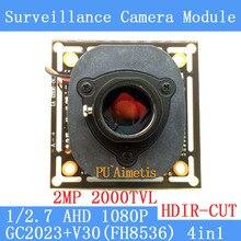 2MP 1920 * 1080 AHD 1080P Camera Module Circuit Board, 1 / 2.7 2000TVL GC2023 + V30 PCB Board + HD IR-CUT dual-filter switch