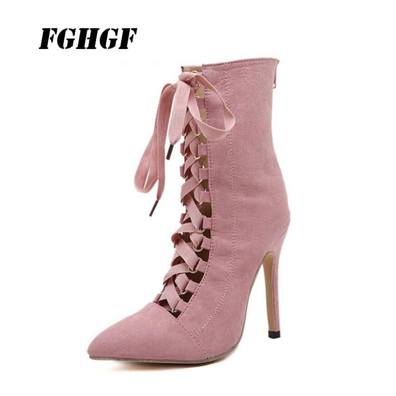 Package mail New oversized heels for 2018 Female stiletto with pointed cross lace bare boots Casual business boots for women