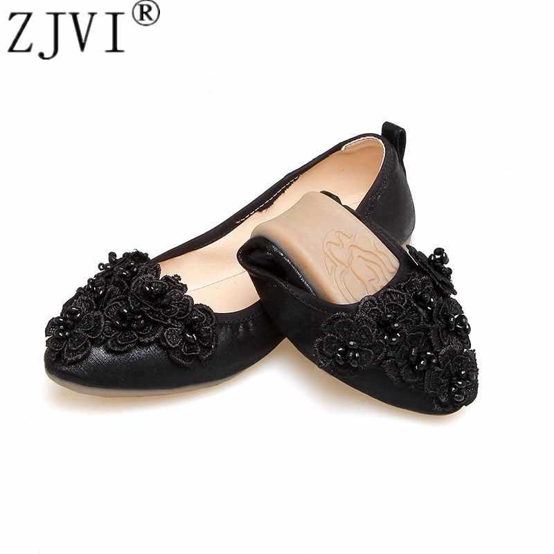 ZJVI/женские туфли на плоской подошве с круглым носком; коллекция 2019 года; летние женские туфли на плоской подошве; Модные Повседневные туфли с цветочным узором; цвет черный, золотистый; женская обувь на мягкой подошве