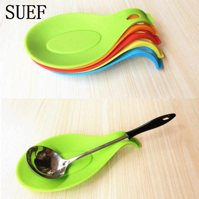 SUEF Silicone Spoon Insulation Mat Silicone Heat Resistant Placemat Tray Spoon Pad Drink Glass Coaster hot sale Kitchen Tool@2