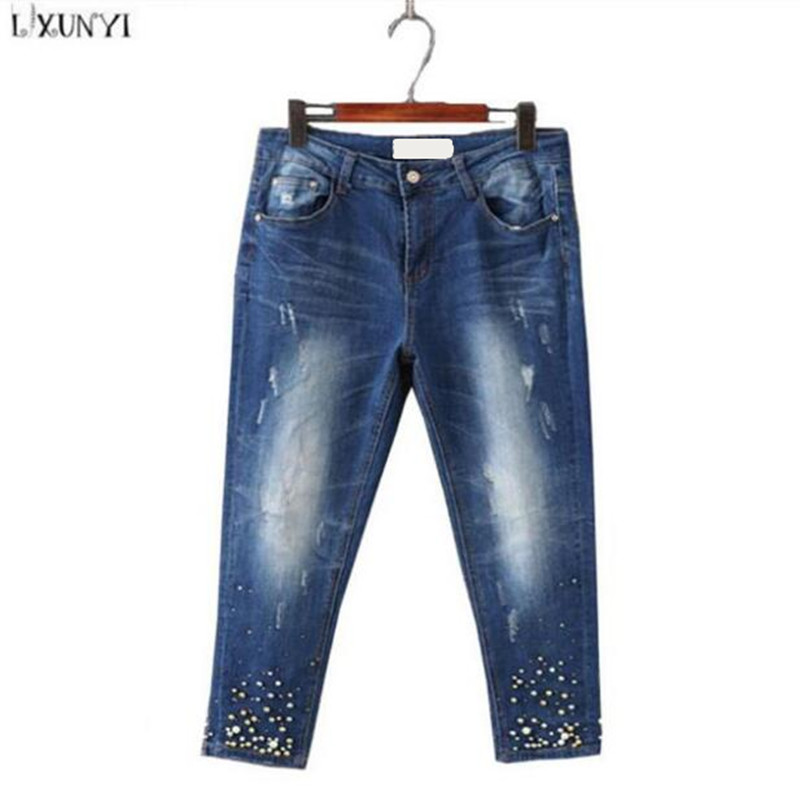 Large Size jeans for Women Spring New Washing Beading Denim Pants 2017 Ripped  jeans High Waist Slim Ankle Length Pantalon femme large size jeans for women spring new washing beading denim pants 2017 ripped jeans high waist slim ankle length pantalon femme