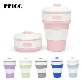 FEIGO 350ML Coffee Cups Travel Collapsible Silicone Portable Tea Cup for Outdoors Hiking Picnic Folding Office Water Cups F324