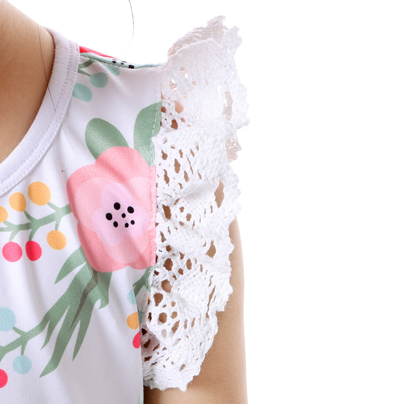 Summer Cotton Baby Girls Kids Boutique Clothes Dress Stiped Floral Lace Trim Ruffle Baby Girls Dress Toddler Outfit  (6)