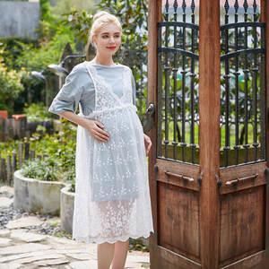 35a9e4eb01ae Pink maternity Cotton long pregnant women pregnancy clothes