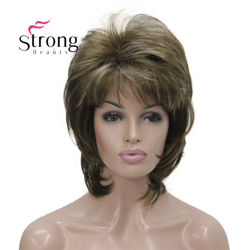 StrongBeauty Short Fluffy Layered Light Brown Highlighted Classic Cap Full Synthetic Wig Women's Hair Wigs COLOUR CHOICES