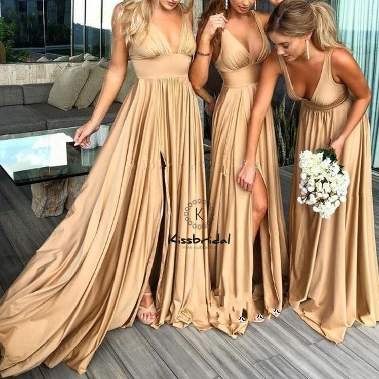 New Fashion Long   Bridesmaid     Dresses   Sexy Backless High Slit Wedding Party Gown Deep V-Neck Chiffon   Dress