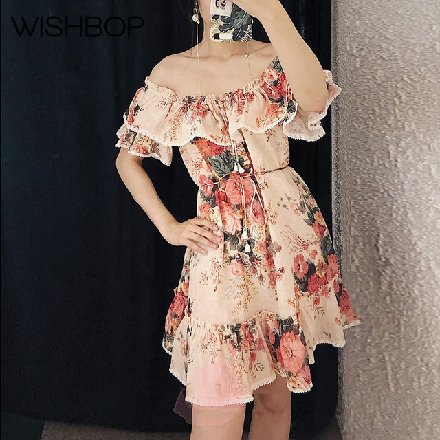 3a3d953b2b US $172.01 |2018 New Laelia Frill Tier Short Dress Meadow Floral Print Off  Shoulder Ruffled Mini Dress With Drawstring Necktie & Lace Trim-in Dresses  ...