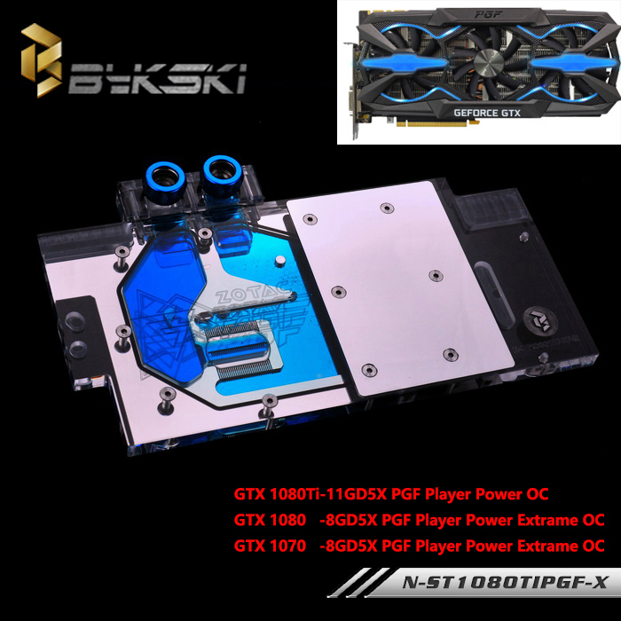 BYKSKI Full Cover Graphics Card Water Cooling GPU Block use for ZOTAC GTX1080Ti-11GD5X PGF Player Power OC with RGB Light цена 2016