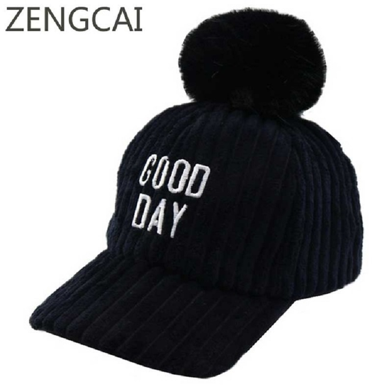 ec6bfd741862d Brand Snapback Hip Hop Cap Kids Boys Winter Corduroy Pompom Hats Baseball  Caps Cute Letters Embroidery Girls Hat Child Warm Caps-in Baseball Caps  from ...