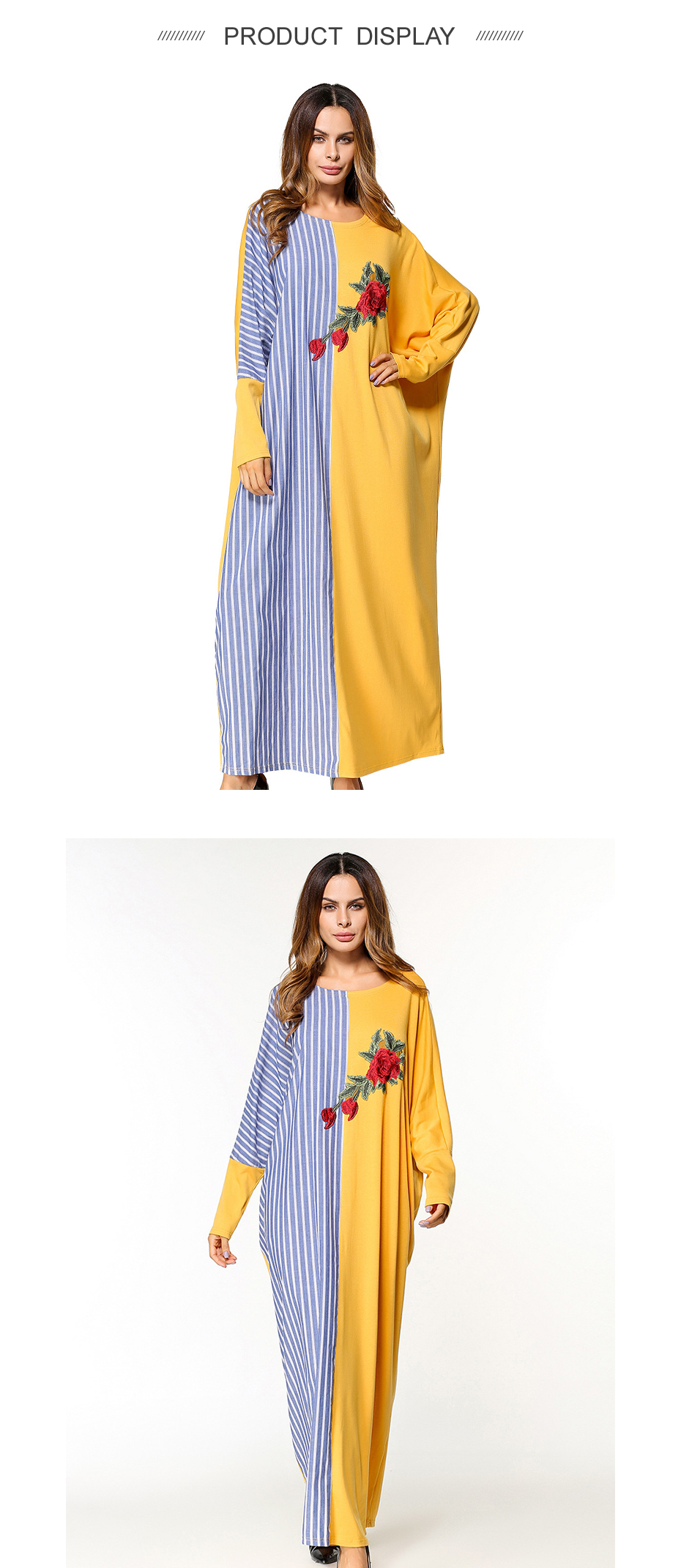 Muslim maxi dress embroidery abaya bat sleeve