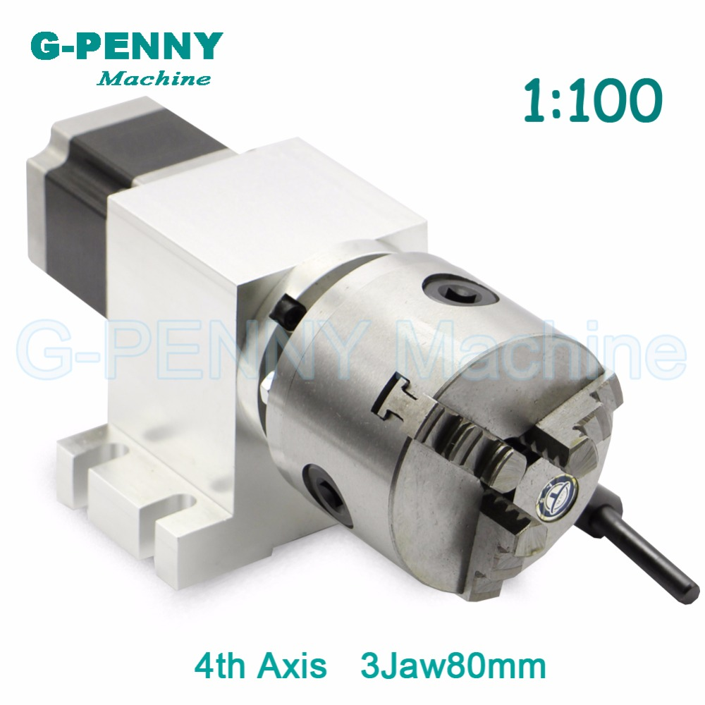 3 Jaw 80mm CNC 4th Axis CNC dividing head/Rotation Axis/A axis kit Nema23 Gapless harmonic gearbox for CNC woodworking machine new 14 50 80a 3 jaw cnc 4th axis cnc dividing head rotation axis a axis kit gapless harmonic gearbox tailstock for cnc machi