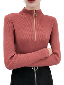 Knitted Sweater Jumper-Top Pullovers Turtleneck Long-Sleeve Autumn Women Solid Chic Casual