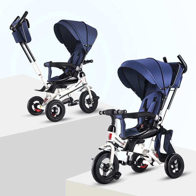 Convertible Handle Portable Child Tricycle Stroller Folding Three Wheels Stroller Travel System Baby Cart Pram Rotating Seat