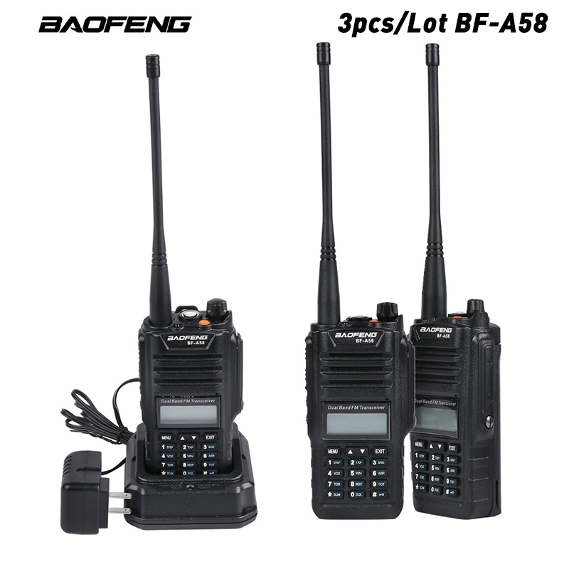 3pcs/lot Original Baofeng BF-A58 Walkie Talkie IP67 Waterproof Telsiz 10km Two Way Radio Hf Transceiver Hunting Radio