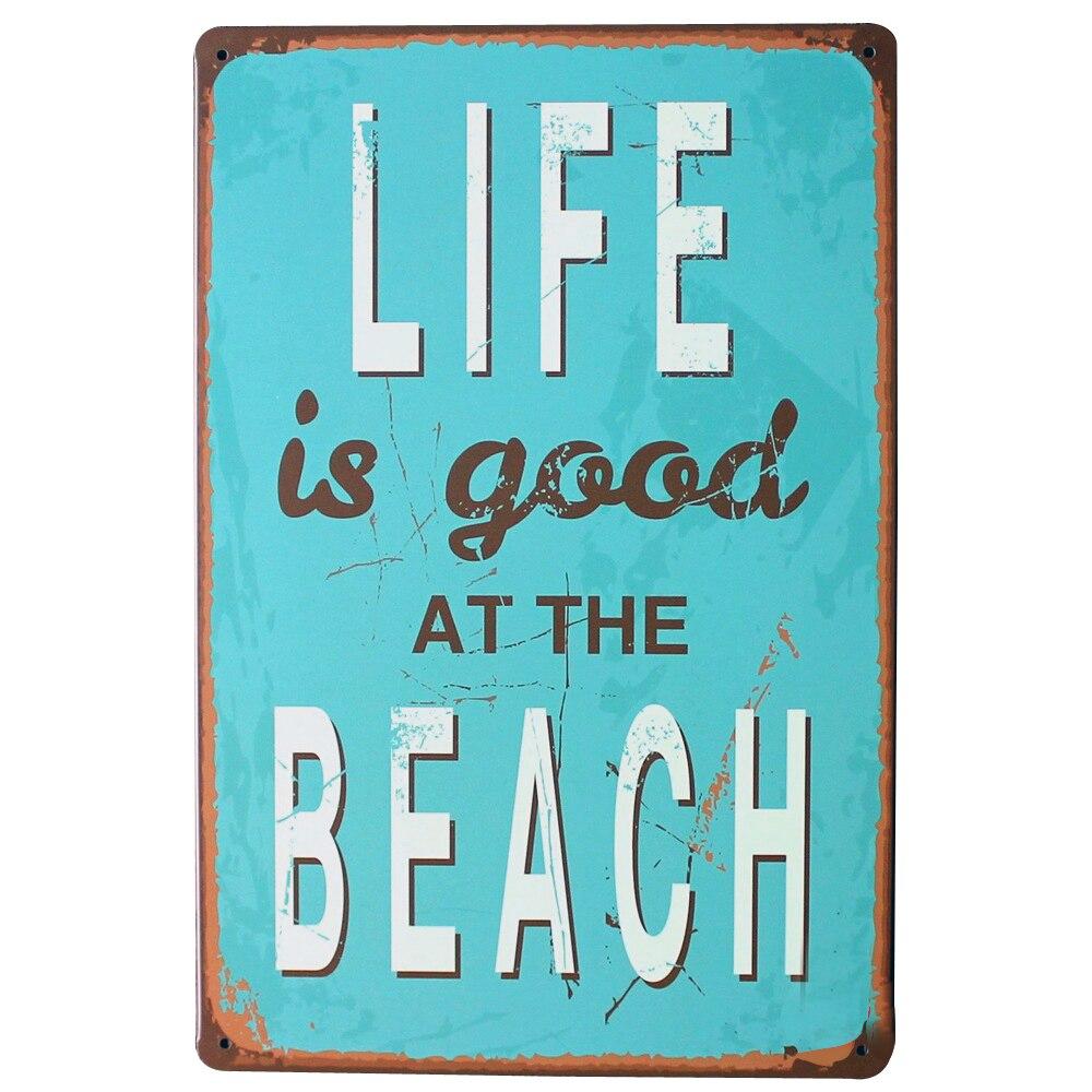 인생은 좋은 해변 금속 벽 플라크 주석 빈티지 기호 모토 편지 아트 장식 보드 SPM10-2 20x30 센치 메터 B2