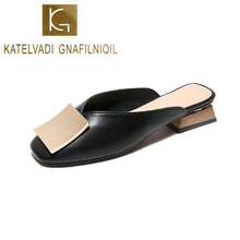 KATELVADI Women Pumps 3CM Heels Mules Shoes Buckles Decoration Black PU Square Toe Slippers Summer Big Size 34-43  K-419