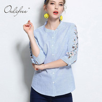 Ordifree 2017 Summer Female Blouse Flower Embroidered Stand Collar Plus Size 3XL 4XL 5XL Floral Embroidery
