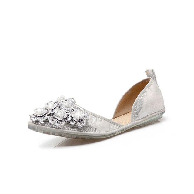 Sommer Flacher Mund Damen Flache Schuhe Gold Silber Blume Perlen