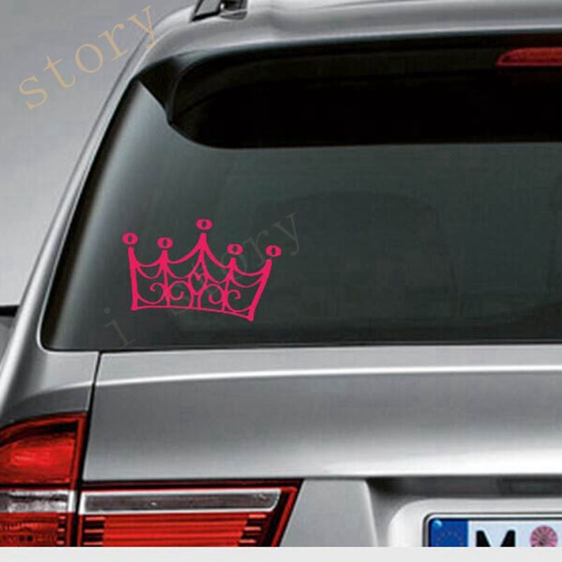 Princess crown car stickers vinyl queen car decals for girl princess accessories free shipping s2089 in car stickers from automobiles motorcycles on