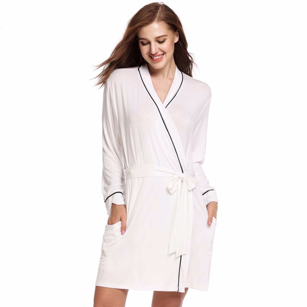 Summer Cotton Bathrobe Women Kimono Bridal Bath Robe Long Sleeve Belted  Dressing Gowns Home Sleepwear Bridesmaid Short Nightwear b49a01d16