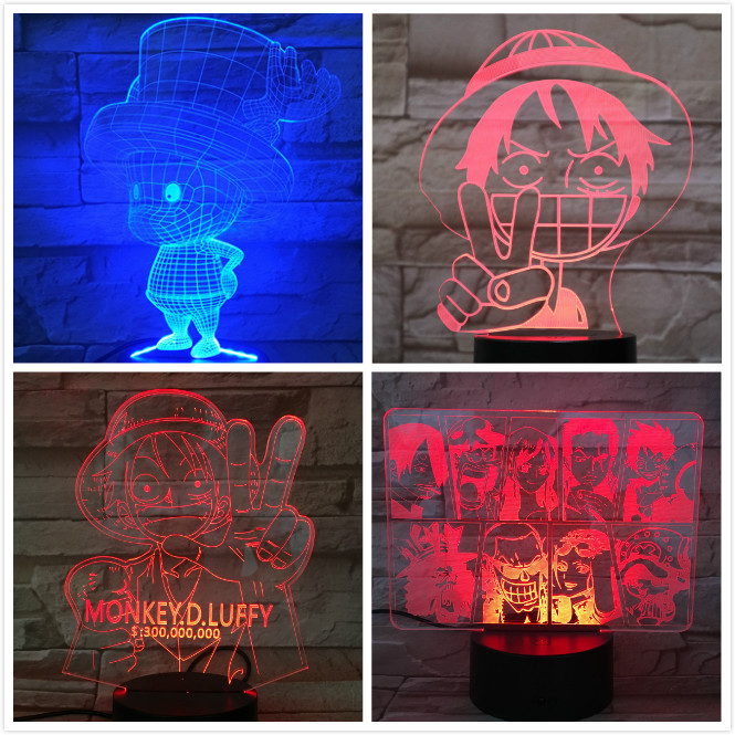 One Piece Lampara Tony Chopper Figure 3d Illusion Led Night Light Decoration Gift Cartoon Toys Monkey Luffy Table Lamp Bedside