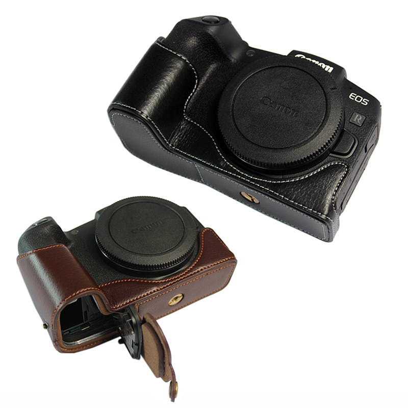 Handmade Genuine Real Leather Half Camera Case Bag Cover for Canon EOS RP Black Color