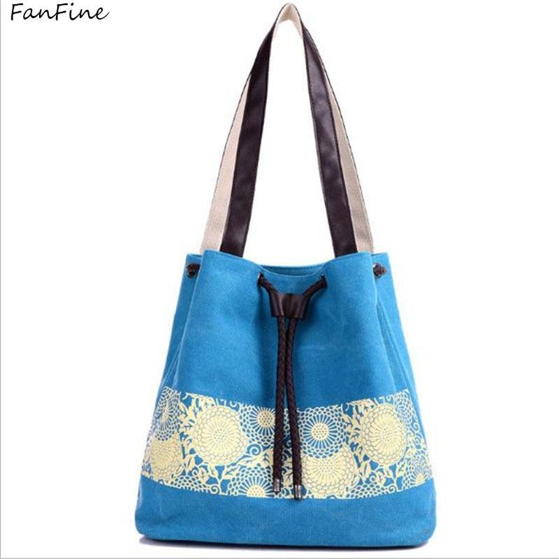 Canvas Lace Handbag Bucket Drawstring Tote Bag Shoulder Bag Shopping Bags Bolsas Femininas