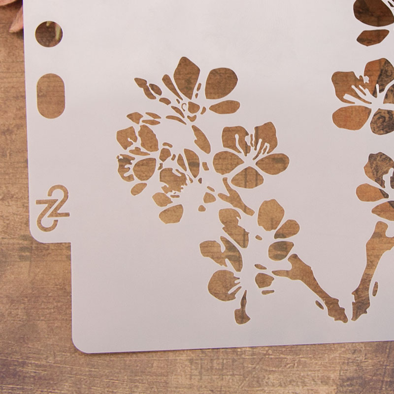 Plum Flower Stencils for DIY Scrapbooking Plastic Handmade Template Photoalbum Diary Decor Painting Drawing Spray Tools Card in Embellishments from Home Garden