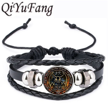 QiYuFan Cthulhu R'lyeh Sigil Leather Bracelet inspired by H.P. Lovecraft Jewelry Black Multilayers Charm Bracelets Women Men image