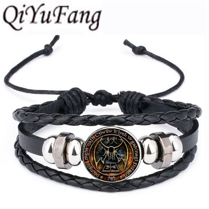 QiYuFan Cthulhu Rlyeh Sigil Leather Bracelet inspired by H.P. Lovecraft Jewelry Black Multilayers Charm Bracelets Women Men ...