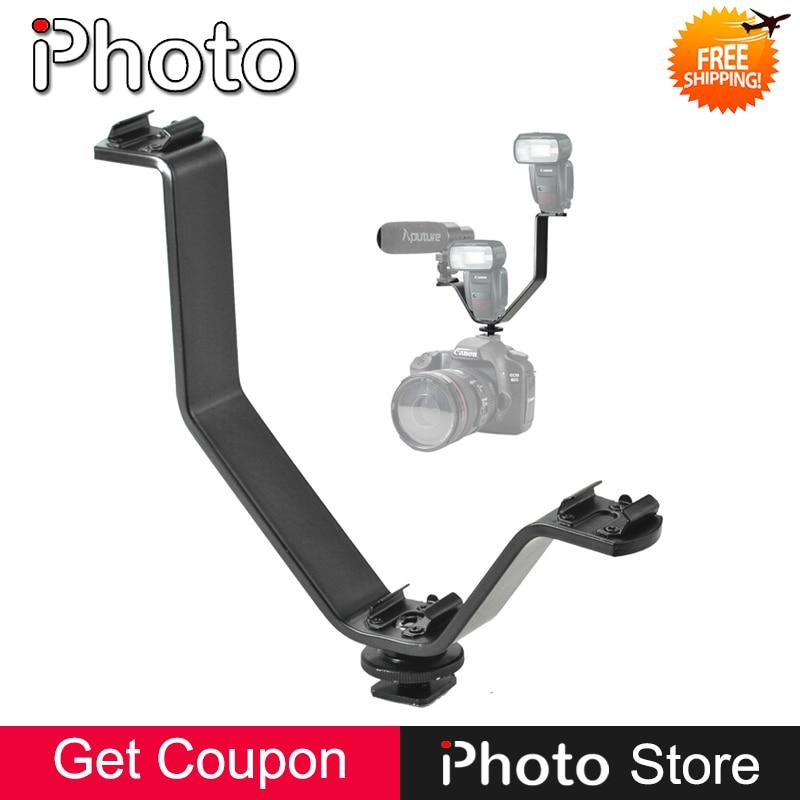 3 en 1 Triple Zapata soporte para Flash Speedlite luz LED micrófono Monitor montaje SLR, DSLR cámara DV videocámara trípode soporte