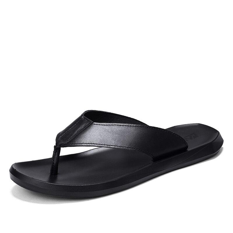 Элитный бренд 2018 Новый Для мужчин флип-флоп мягкие кожаные шлепанцы летние модные пляжные сандалии обувь для Для мужчин ZT40