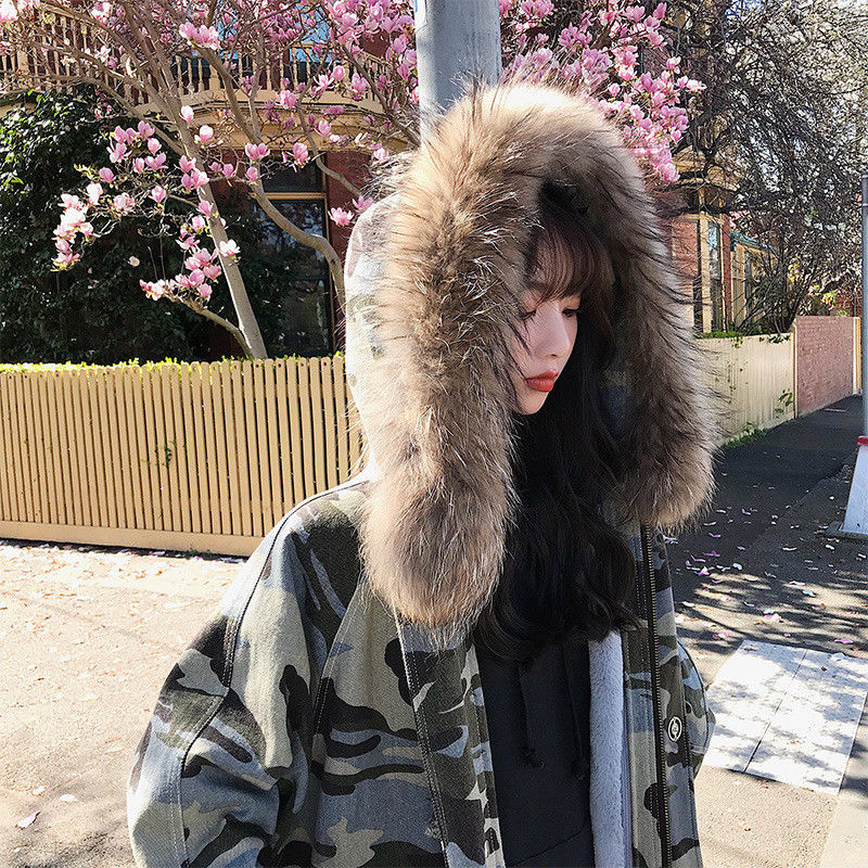 Coat fur collar camouflage women S coat long hooded Parker warm fashion new winter pregnant clothes maternity winter coat pregnant women pregnant women cotton black coat large size coat tide tan collar collar long hooded jacket
