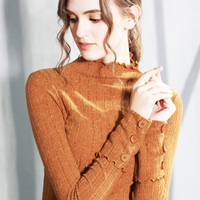 womens top long sleeve Stand collar t shirt all match tee brown gray red t shirt women bts