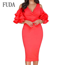 FUDA Elegant Ruffles Bodycon Red Yellow Dress Sexy V-neck Hollow Out Slim Pencil Female Summer Formal Wine Occasion Wear