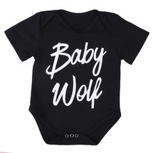 Newborn Infant Baby Girl Boys Clothing Bodysuit Short Sleeve Black Letter Jumpsuit Outfits Summer Sunsuit Clothes