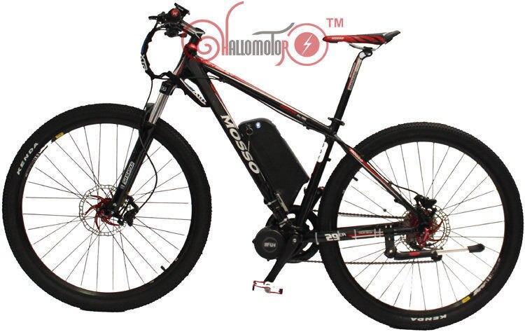 Conhismotor preto/branco cor 48 v 750 w mosso 29er bafang mid drive motor ebike + 12ah lítio bicicleta elétrica para baixo tubo bateria
