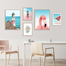 Seascape Print Picture Wall Art Landscapes Pineapple Poster Nordic Sea Pictures  Life Quotes Posters And Prints Pink Unframed