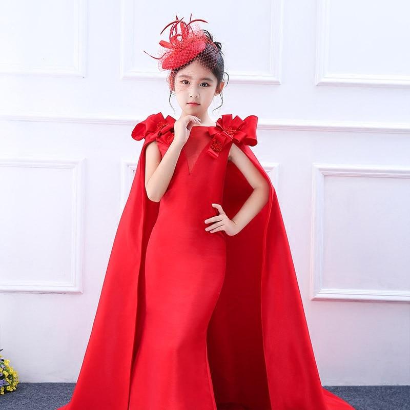 2018 New Fashion Red Gown Abito da Principessa Vestito Lungo Tailling Reale Guaina Ragazze Tengono Comunione Dress Senza Maniche Party Dress2018 New Fashion Red Gown Abito da Principessa Vestito Lungo Tailling Reale Guaina Ragazze Tengono Comunione Dress Senza Maniche Party Dress