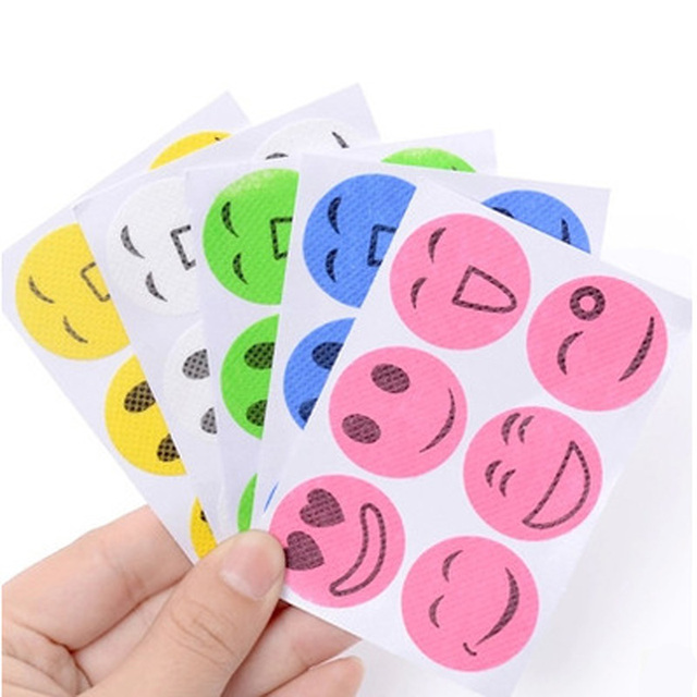 Funny Smiling Face mosquito repellent stickers.