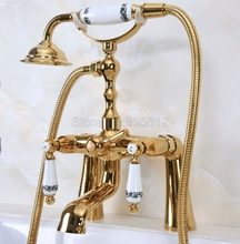 Deck Mounted Gold Color Brass Bathroom Tub Faucet Set + Hand Shower Head Luxury Dual Handle Shower Faucets tna143