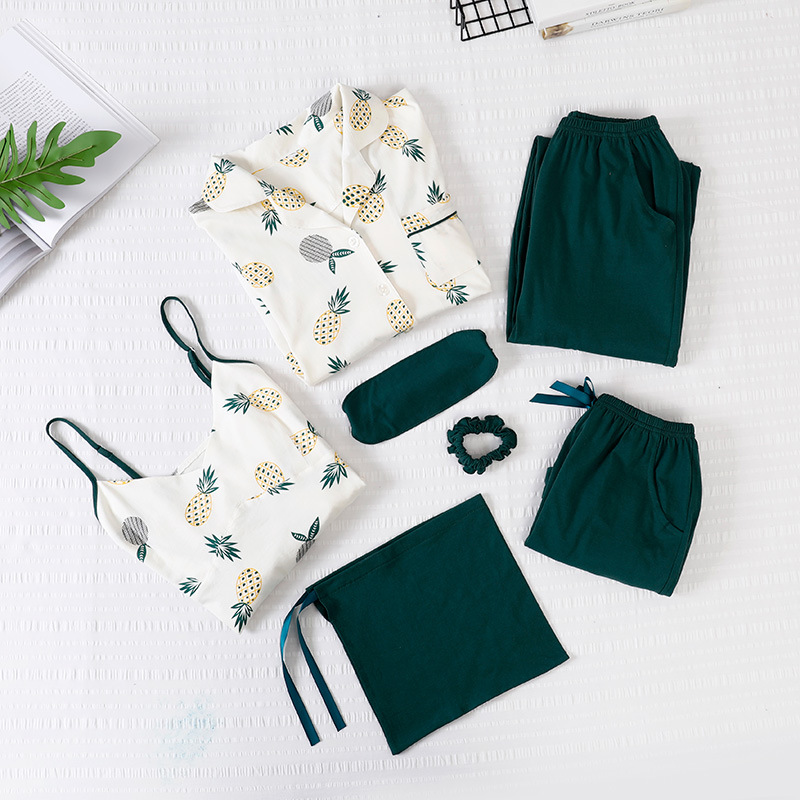 2019 Women Pajamas 7 Pieces Cotton Sleepwear Pijama Home Wear Home Clothing Pineapple Green Sleep Lounge Pyjama with Chest Pads