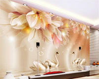Beibehang Wallpaper For Walls 3 D Fashion Home Decoration Painting Big Wallpaper Flowers Swan 3D TV