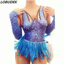 Super flash stones bodysuit jumpsuit Bright Crystals diamond Rompers Catsuit women sexy costumes dancer show nightclub bar
