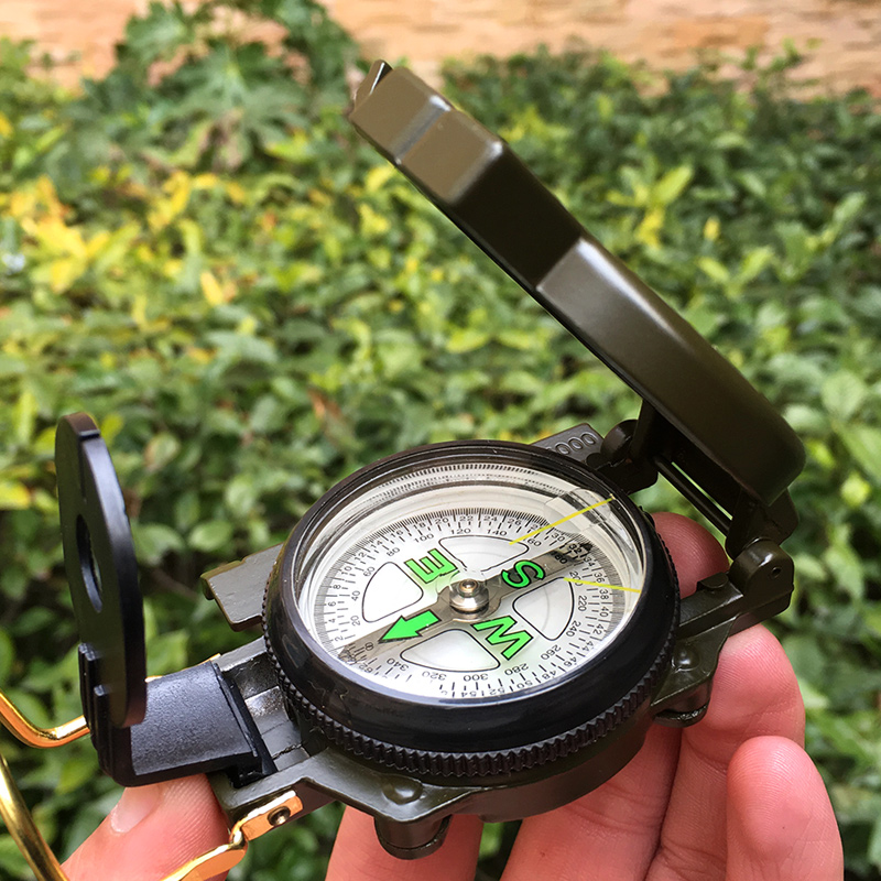 Portable Army Green Folding Lens Compass Metal Military Marching Lensatic Camping Hot Selling