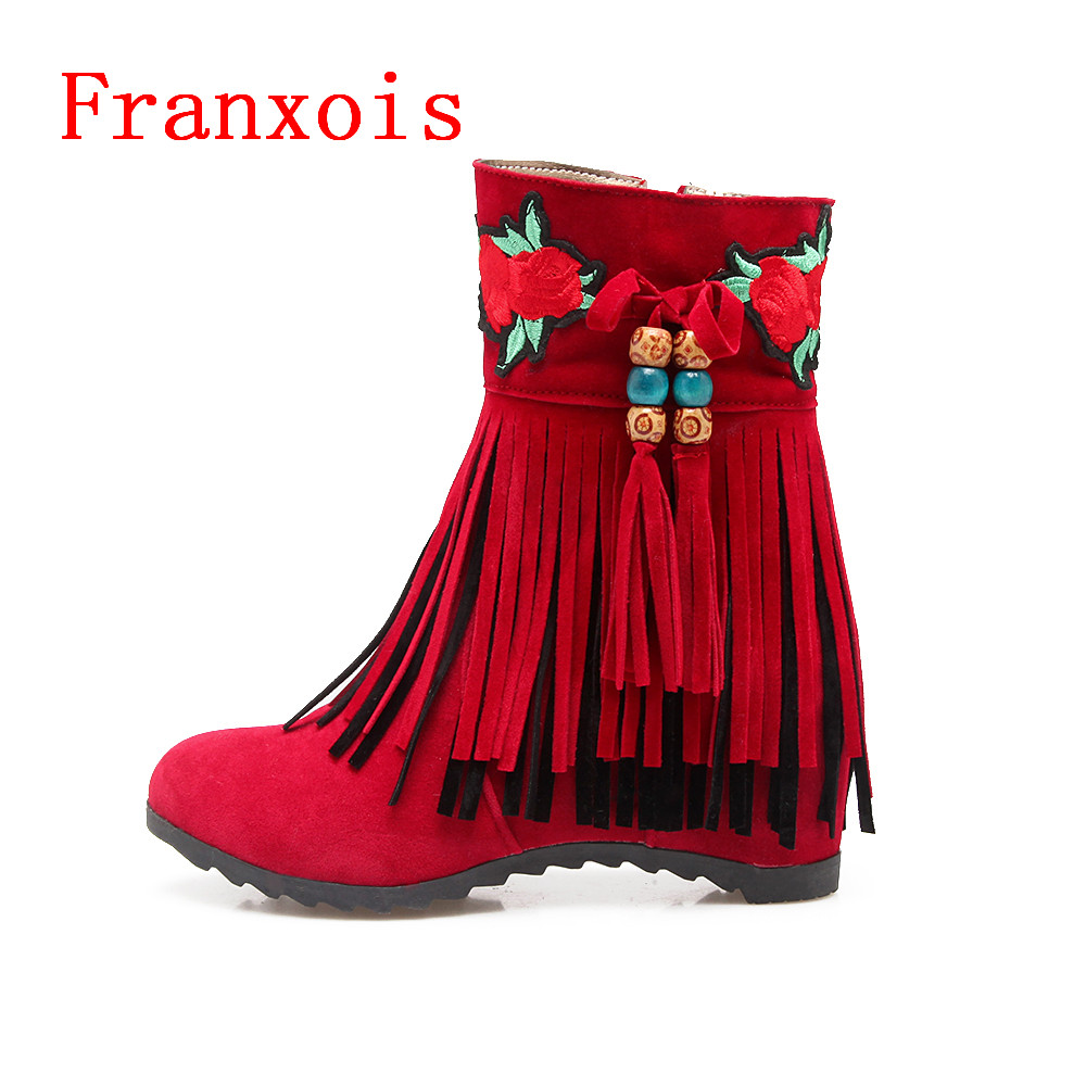 Franxois Women Embroidery Tassel Mid Calf Boots Handmade Ankle Boots Hidden Wedge Heels Boots Elevator Shoes Big size 34-43