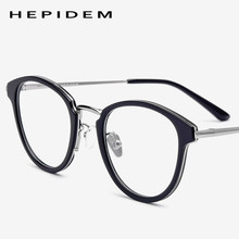 Acetate Eyeglasses Frame Men Metal Round Prescription Eye Glasses for Women Optical Frame Spectacles Vintage Eyewear 70043(China)