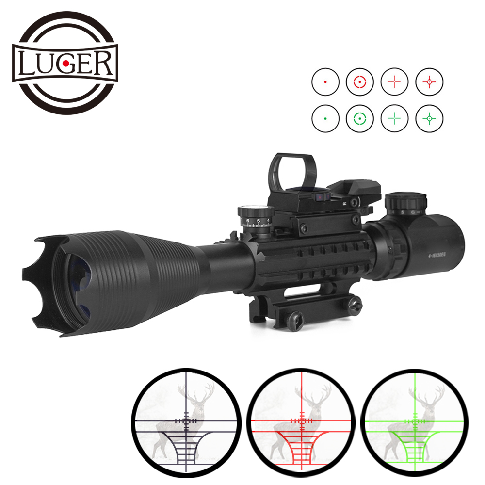 LUGER Tactical 4-16X50EG Rifle Scope Holographic Dual Illuminated Red Dot Sight With Red Laser Combo Riflescope Optic Sight