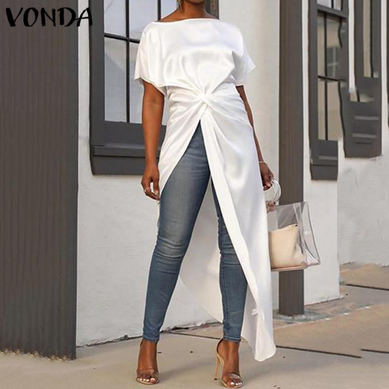 VONDA Women   Blouse   Casual Loose Split Hem Asymmetrical   Blouse   Summer Tops Sexy Party Long   Shirts   Female OL Blusa Tunic Plus Size